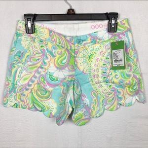 LILLY PULITZER Scalloped Hem Shorts 000